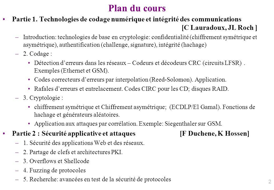 Plan du cours Partie 1. Technologies de codage numérique et intégrité des communications [C Lauradoux, JL Roch ]